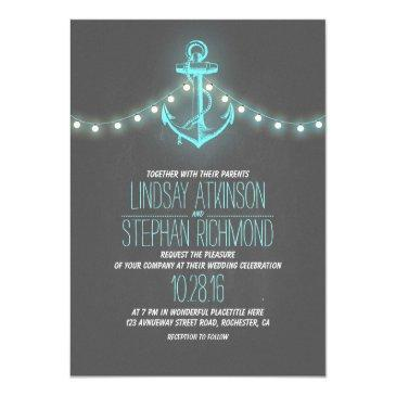 Small Turquoise Nautical Chalkboard Anchor Wedding Invitation Front View