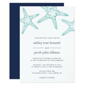 turquoise & navy starfish wedding