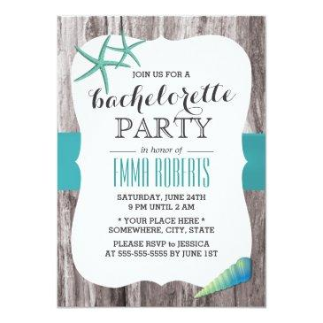 Small Turquoise Seashells Beach Theme Bachelorette Party Invitation Front View