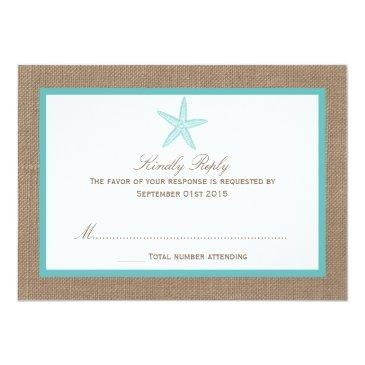 Small Turquoise Starfish Burlap Beach Wedding Collection Front View