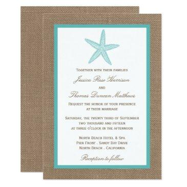 turquoise starfish burlap beach wedding collection