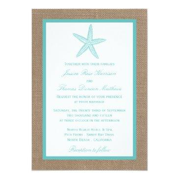 Small Turquoise Starfish Burlap Beach Wedding Collection Invitationss Front View