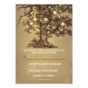 Small Twinkle Lights Tree Rustic Wedding Rsvp Invitation Front View