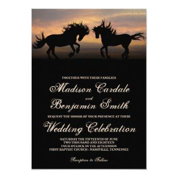 two horses at sunset country wedding invitationss