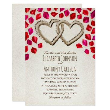 unique sand hearts rose petal beach themed wedding invitation