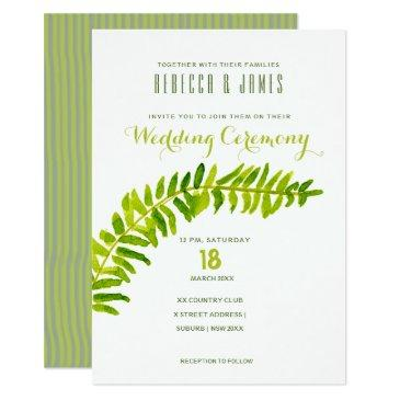 vibrant green watercolor fern foliage wedding