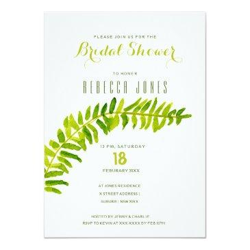 Small Vibrant Green Watercolour Fern Bridal Shower Front View