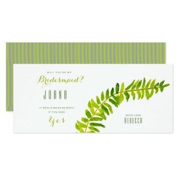 vibrant green watercolour fern bridesmaid