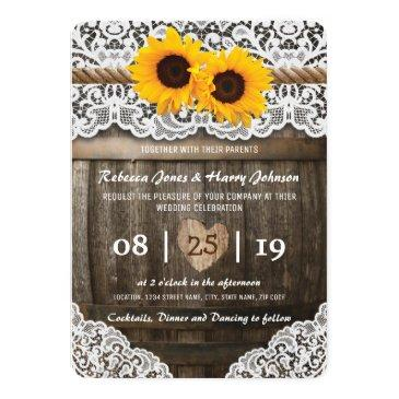 vineyard barrel wedding invitation | rustic sunflower