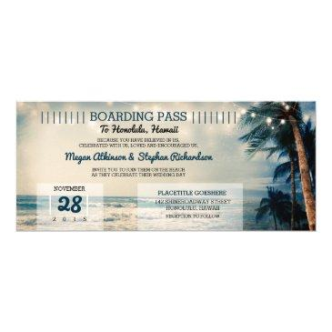 vintage beach wedding boarding pass ticket wedding