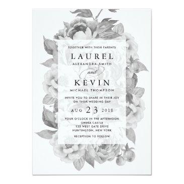 Small Vintage Black & White Floral Wedding Front View