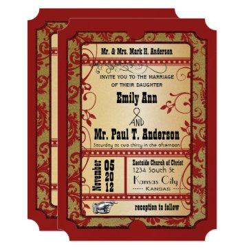 vintage broadway red and gold movie ticket