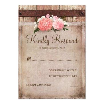 Small Vintage Burlap And Rustic Wood Floral Wedding Rsvp Front View