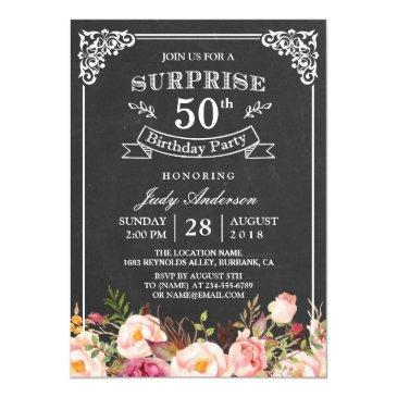 vintage chalkboard floral surprise birthday party