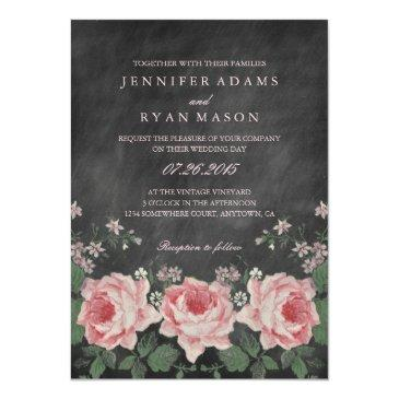 Small Vintage Chalkboard Flower Wedding Invitation Front View