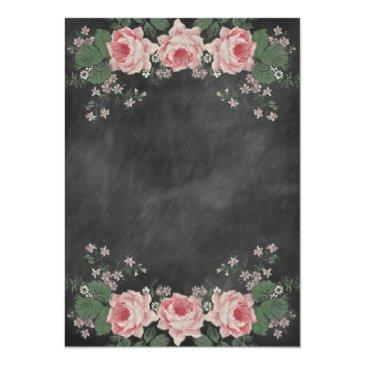 Small Vintage Chalkboard Flower Wedding Invitation Back View