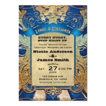 Small Vintage Circus Carnival Showtime Royal Blue & Gold Invitation Front View