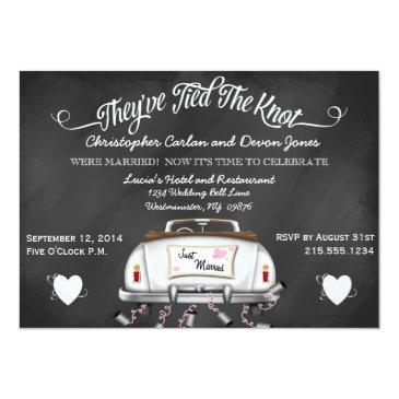 Small Vintage Convertible Chalkboard Post Wedding Invite Front View