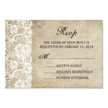 vintage elegance ribbon on lace wedding rsvp