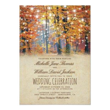 Small Vintage Fall Rustic Autumn String Lights Wedding Invitation Front View