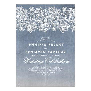 Small Vintage Floral Lace - Dusty Blue Wedding Front View