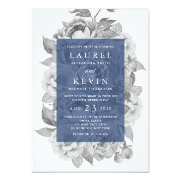 Small Vintage Floral Wedding  | Navy Front View