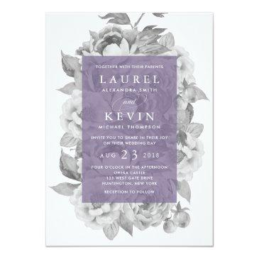 Small Vintage Floral Wedding Invitation | Violet Front View