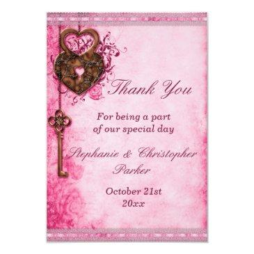 vintage heart lock & key pink wedding thank you