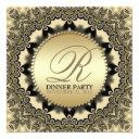 vintage lace golden dinner party invitationss
