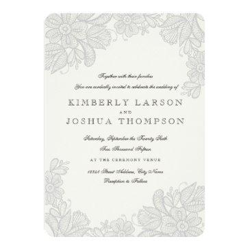 Small Vintage Lace Wedding Invitationss Front View