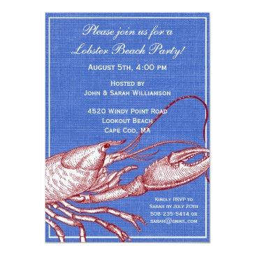 vintage nautical lobster bake beach party invitations