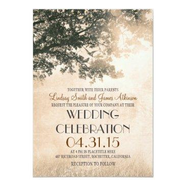 Small Vintage Oak Tree & Love Birds Wedding Invites Front View