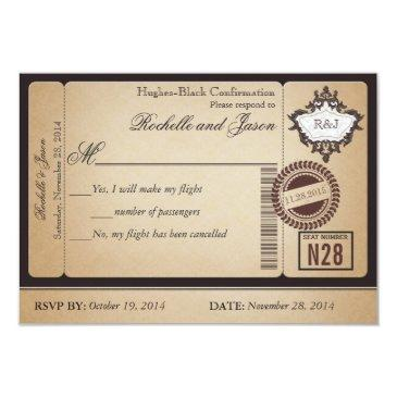 vintage passport ticket rsvp