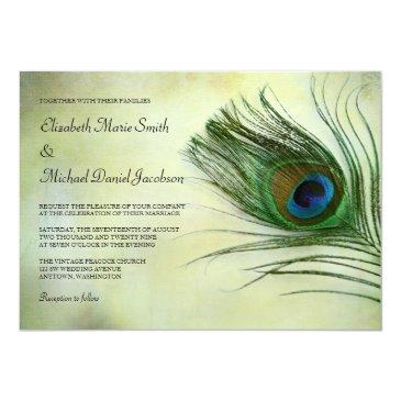 vintage peacock feather wedding invitationss