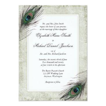Small Vintage Peacock Feathers Wedding Front View
