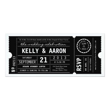 Small Vintage Playbill Theater Ticket Wedding Invitation Front View