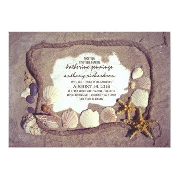 Small Vintage Rustic Beach Wedding Invitation Front View