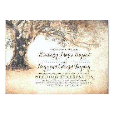 Small Vintage Rustic Carved Oak Tree Wedding Front View