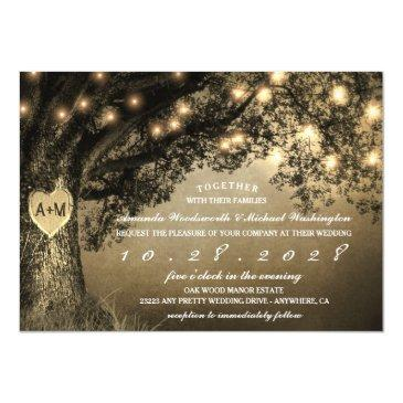vintage rustic carved oak tree wedding invitationss