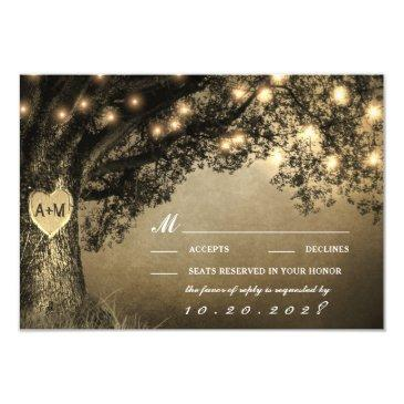 vintage rustic carved oak tree wedding rsvp