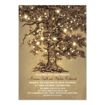 Small Vintage String Lights Tree Rustic Wedding Invites Front View