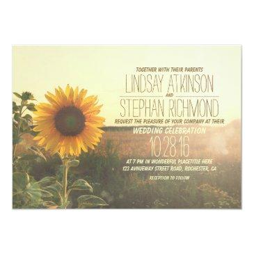 Small Vintage Sunflower Wedding Invitation Front View