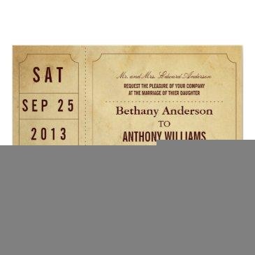 vintage ticket wedding