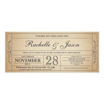 vintage wedding ticket