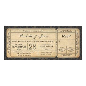 vintage wedding ticket  with rsvp 3.0