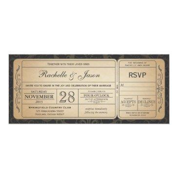 Small Vintage Wedding Ticket  With Rsvp 3.0 Front View