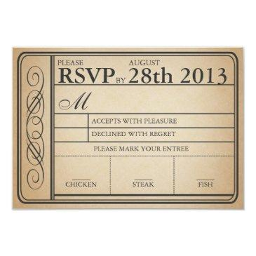 vintage wedding ticket rsvp ii punchout