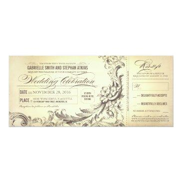 vintage wedding tickets - sophisticated flourishes invitations