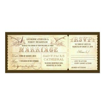 Small Vintage Wedding Tickets With Deer Antlers Front View