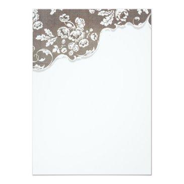 Small Vintage White Lace Rustic Wedding Rsvp Invitation Back View